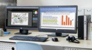 Small Form Factor PC mit zwei Flachbildschirmen