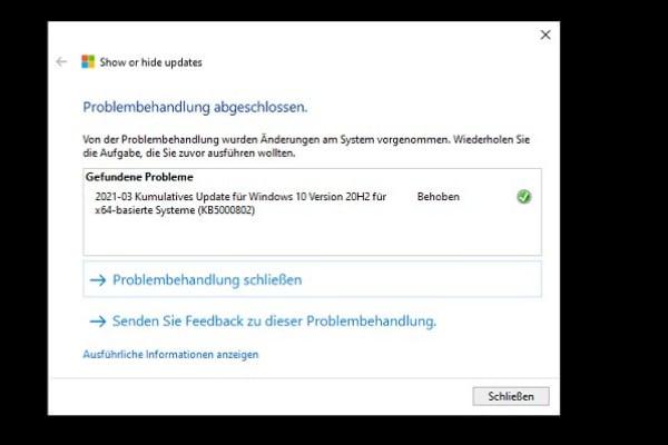 Microsoft Update ausblenden und weiße Streifen verhindern